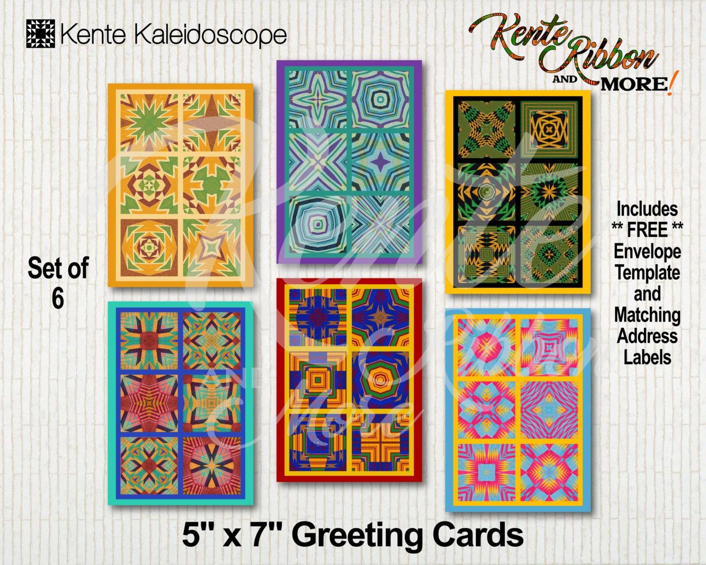 diy set of 6 printable 5x7 greeting card templates in kente
