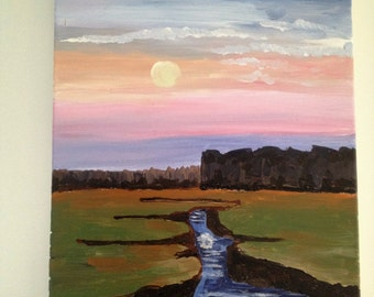 Moonlit River Original Acrylic on Canvas Painting