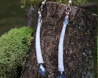 Elegant Dentalium Glass Tear Drop Earrings