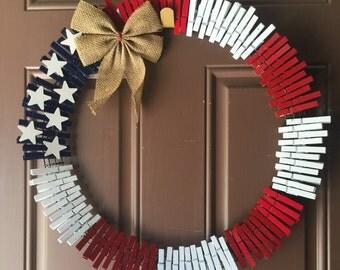 Patriotic Clothes Pin Wreath
