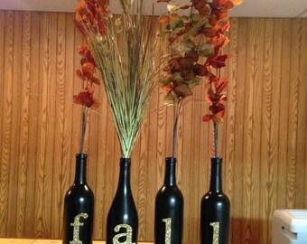 Autumn Decor Wine Bottles