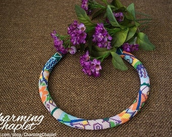 Bright Multicolor Beaded Necklace Crochet With Ethnic Flowers
