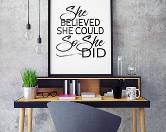 She Believed She Could So She Did Wall Art Printable Poster - Printable Typography Black and White Modern Motivational Wall Decor Poster
