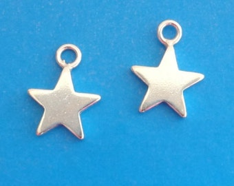 Sterling Silver Star Charms 8mm Charm PK2 PK10