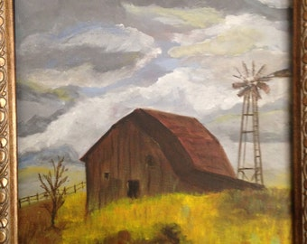 Original landscape painting of barn on a stormy day in warm colors and old windmill 11x14