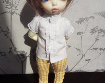 Set: White blouse and yellow gingham trousers for Littlefee