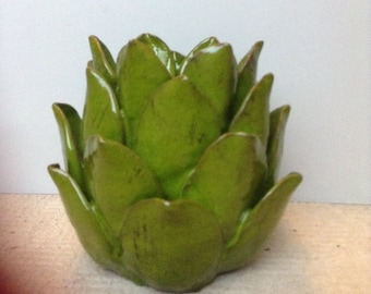 "Artichoke candle holder 8"" by 6"""