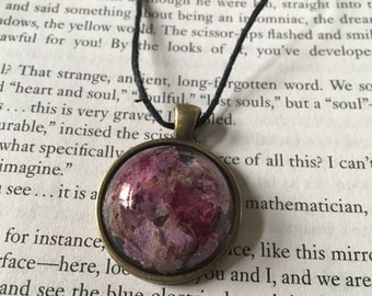 Pink and Purple Real Flower Resin Necklace