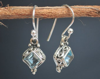 Blue Topaz Earrings * Diamond Shape Earrings * Sterling Silver Earrings * December Birthstone Earrings* BJE021
