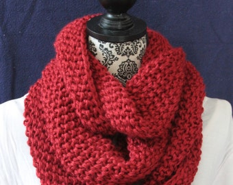 Red hand-knit infinity scarf