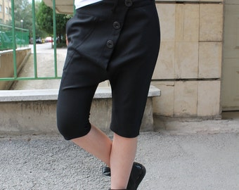 Button Breeches | Black Breeches | Black Drop Crotch Pants | Essential Black Trousers by Silvia Monetti