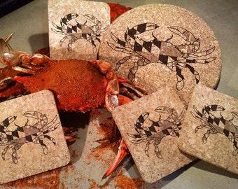 Maryland Crab Cork Coaster and Trivet Gift Set, 5 pc