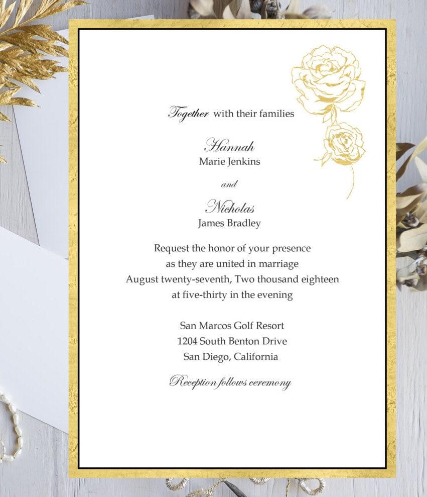 Gold Border & Rose DIY Wedding Invitation Kit **Digital Files ...