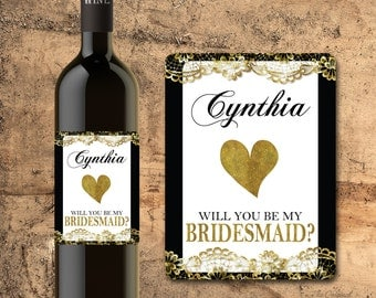 Will You Be My BRIDESMAID WINE BOTTLE Label Faux Gold