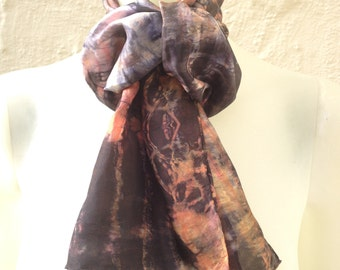 """Orange, Salmon, Black & Grey Silk Scarf for Women or Men 11""""x60"""" One of a Kind Wearable Art. Use for neck or head scarf, belt, or tie."""