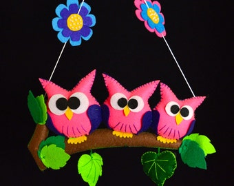 Pink/Purple Owl Wall Hanging/Mobile