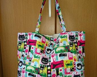 Cute/Kawaii Cats Tote - Japanese Soft Bag - Multicolored Print (Strap B)