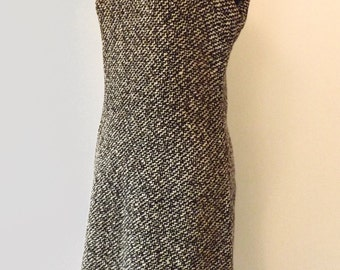 1960s sleeveless wool dress - black and white weave