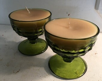 Pair Of Vintage 1960's Avocado Candle Sherbert Glasses