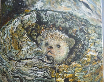 acrylic and oil on canvas: strain and Hedgehog