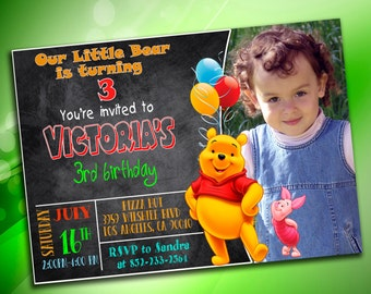 Winnie the Pooh Invitation, Winnie the Pooh Birthday Invitation, Winnie the Pooh Birthday