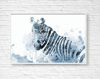 Zebra Art Print, Zebra Digital, Zebra Printable, Blue Zebra, Zebra Wall Decor, DIY Wall Decor, Zebra Illustration, Large Zebra Print