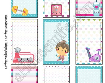 Workout, Happy Planner stickers [48] , Full box, A5 PDF, Instant download