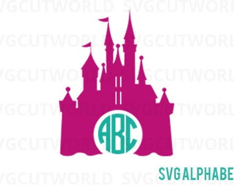 Disney Castle Frame Svg, Disney Castle Svg, Disney Svg, Monogram Frame Svg, use with Cricut & Silhouette