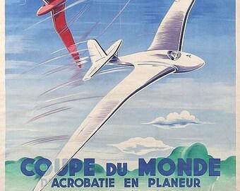 Vintage French World Aeronautics Championship  Poster  A3 Print