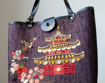 Vintage Enid Collins Style Handbag With Japanese Pagoda Garden