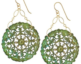 Large Filigree Drop Earrings / Verdigris Brass and Gold / SGE014