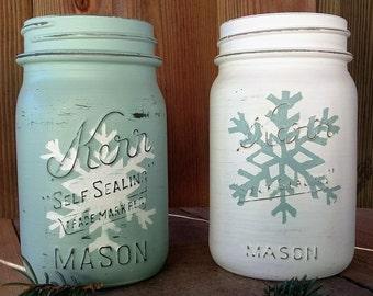 Snowflake Mason Jar Vase; Winter Decor; Christmas Mason Jar Decor