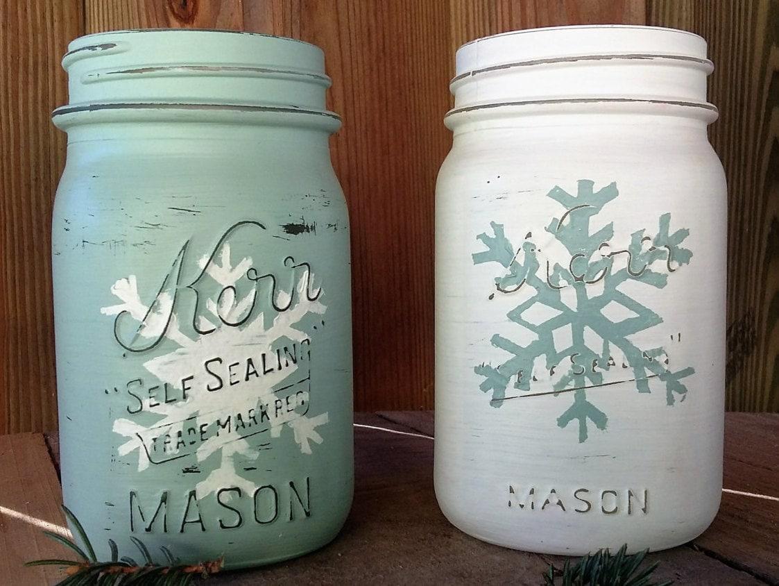 Snowflake mason jar rustic winter decor christmas mason for Christmas glass jars