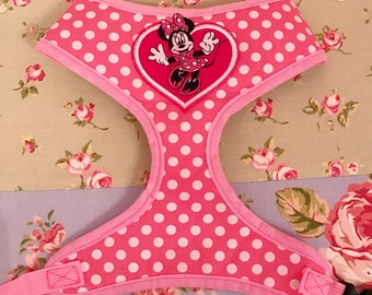 Girls pink polka dot Minnie Mouse dog harness