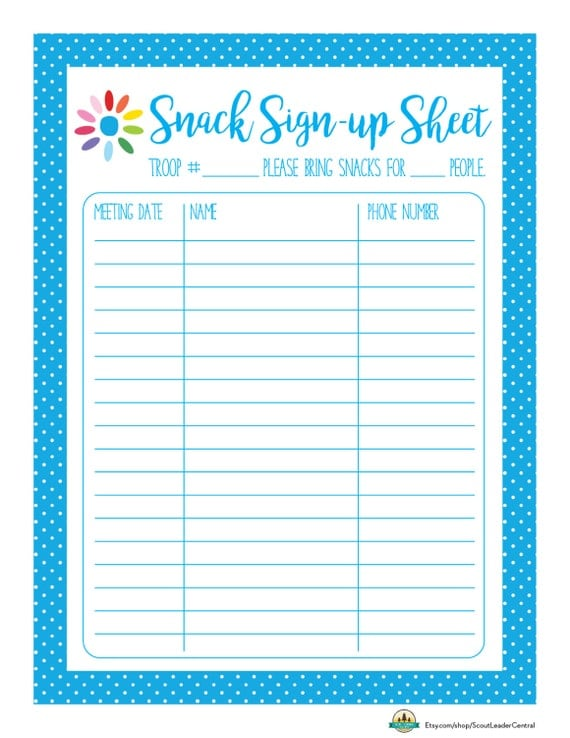 snack sign up sheet printable calendar template 2016