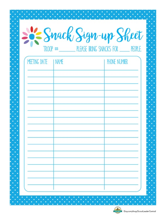 ... ! Daisy Girl Scout Snack Sign-up Sheet - Editable Printable PDF