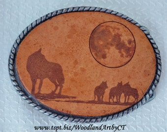Wolf Pack under the Moon Belt Buckle