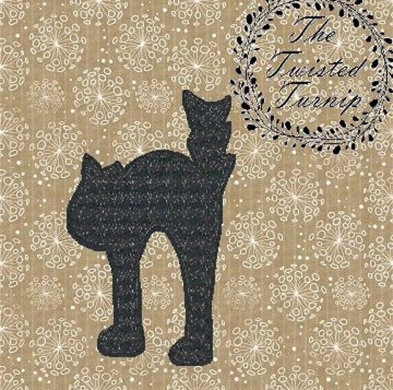 Cute Motif Filled Black Cat Halloween Fall Feltie Felt Felty 5 Embroidery Design Designs Instant Download 4x4 Hoop by The Twisted Turnip