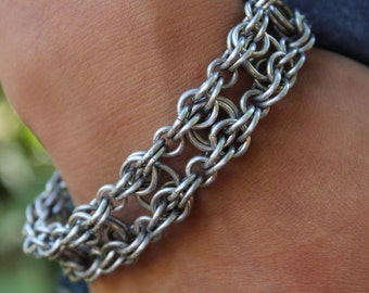 Mens Chainmail Bracelet, Chainmail Jewelry, Bike Chainmail Bracelet, Chainmaille Bracelet, Chain Mail, Metal Bracelet, Womens Bracelet
