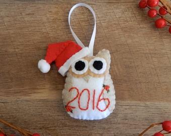 Baby's First Christmas Ornament  Felt Owls   Felt Christmas Ornament   Blue, Pink or White