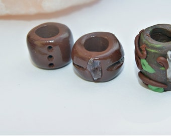 Set of 3 poly clay, mythical dread beads