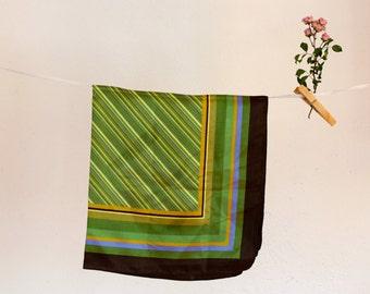 Vintage scarf, Green Foulard, Colorful scarf, Stripy scarf, Headband, 80s, Hearscarf, Hippie scarf, italian scarf