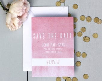 Watercolour Wedding Save The Date Card, Pink Save The Date Invite, Ombre Wedding Save The Date Card