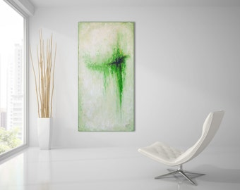 Original ABSTRACT PAINTING 24x48 XLarge Canvas Art Original Painting Oil Painting Modern Art Green Painting Wall Art Canvas Art Wall Decor