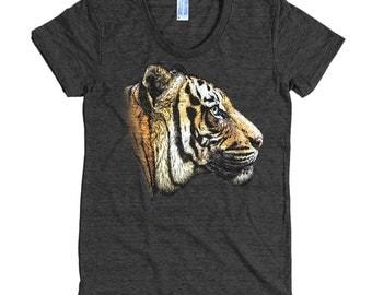 Wild Animal T Shirt - Bengal Tiger T Shirt - Cat Lover Tee - Women's American Apparel T Shirt - Item 1059