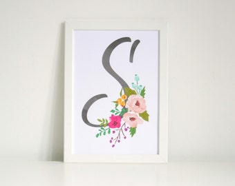 Water colour Floral Initial Wall Art Print