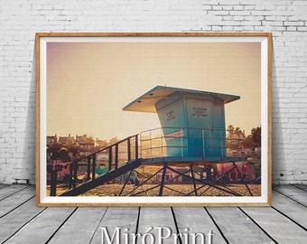 Lifeguard Tower, Sea Wall Art Decor, Ocean Photography Print, Beach Print Art, Landscape Art Photo, Beach Wall Photography, Beach Wall Print