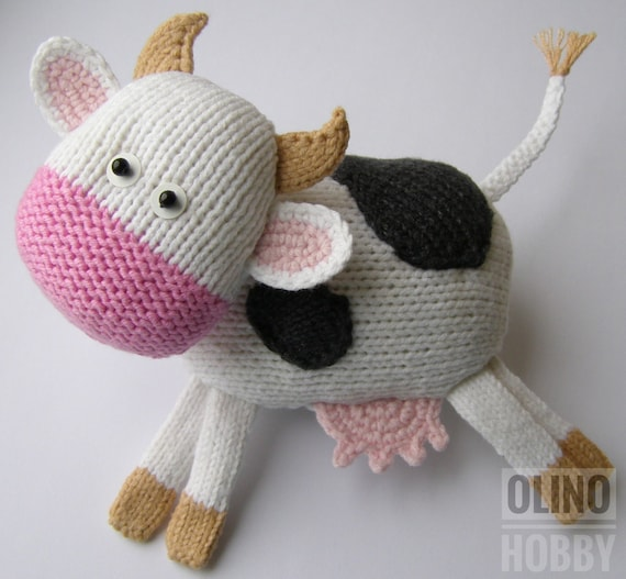 COW Knitting Pattern PDF - Knitted Cow pattern Knitted animal pattern Black and white kniited cow toy. Tutorial - How to knit a cute cow