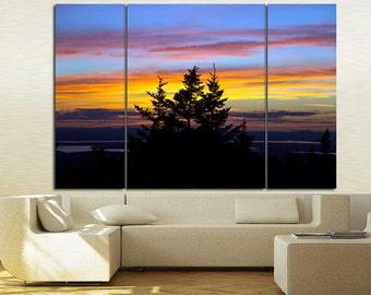 Large Wall Pine Sunset Canvas Color Cloud Multipanel Canvas Landscape Canvas Art Large Pine & Cloud 1 or 3 Panel Sunset Paint Pine