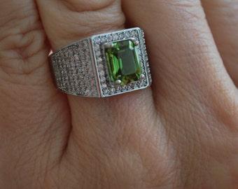 Peridot Gemstone Ring With CZ's-Size 8.5!